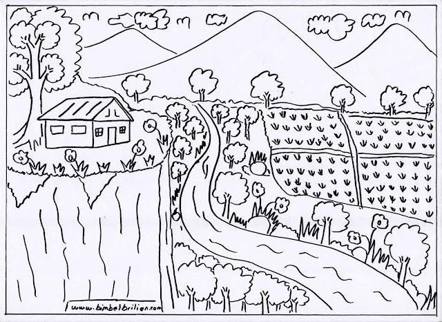 4. Gambar Sungai, Rumah Di Atas Tebing dan Pegunungan