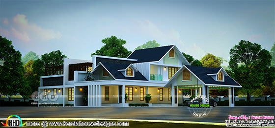 Sloping Roof Contemporary Style Stunning House Kerala