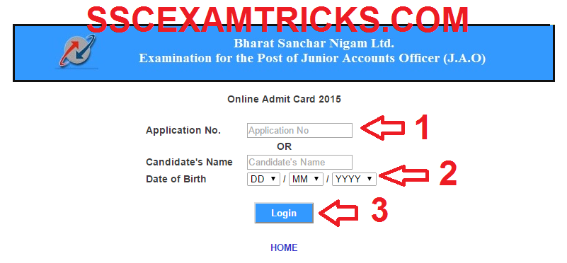 BSNL JAO ADMIT CARDS 2015