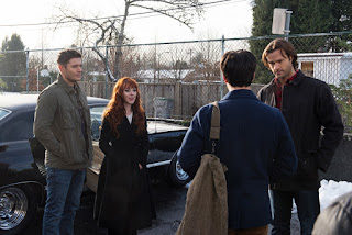 "Jensen Ackles as Dean Winchester, Ruth Connell as Rowena, Jared Padalecki as Sam Winchester in Supernatural 12x13 ""Family Feud"""