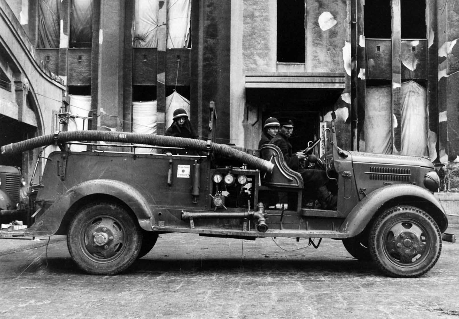 One of several Japanese fire engines transferred to Hiroshima shortly after the bombing.