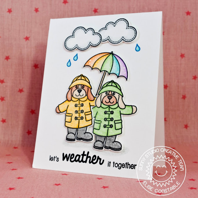Sunny Studio:  Rain or Shine Let's Weather It Together Rainy Day Encouragement Card by Elise Constable.