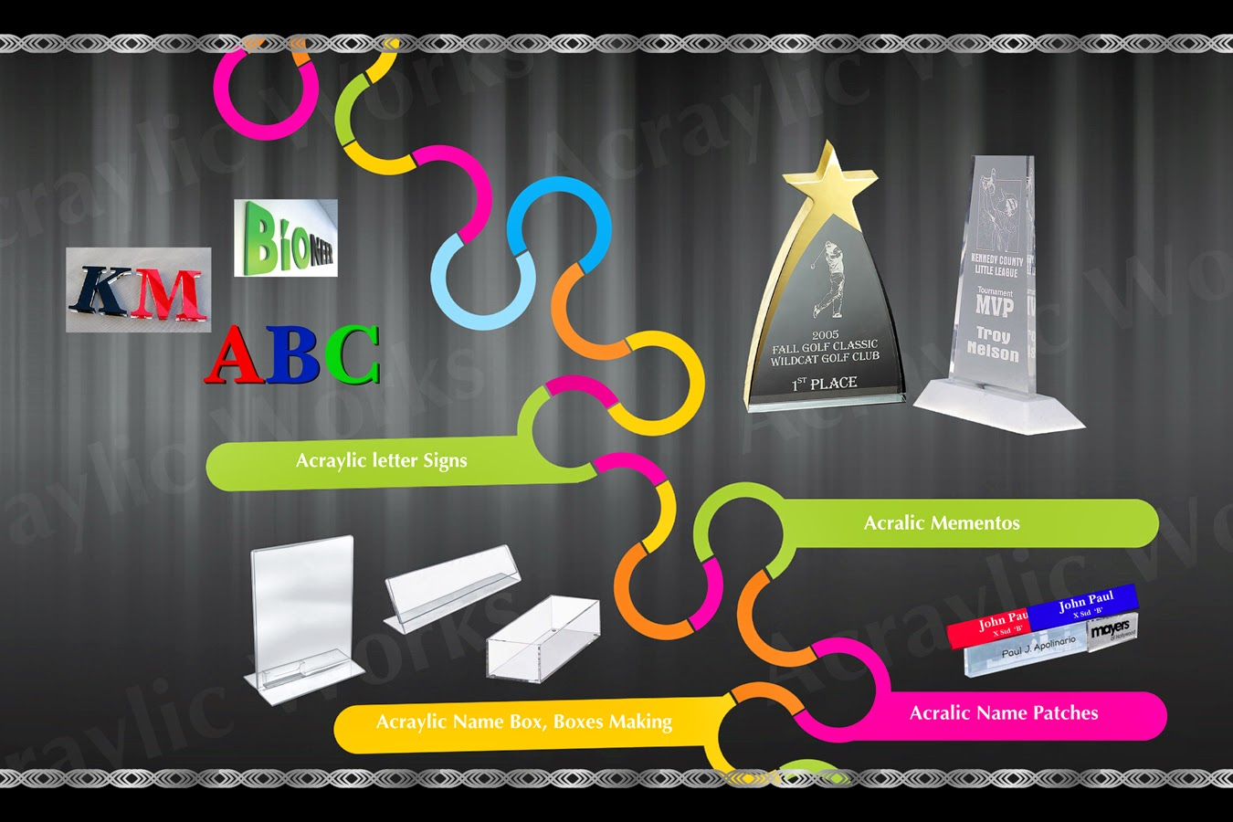 Acrylic Letter Signs Stands Bo Name Plates Trophy Done Here Contact 9840303138