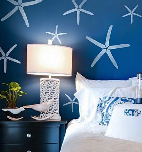 Starfish Stencil Wall Blue