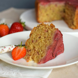 Strawberry & basil upside-down cake