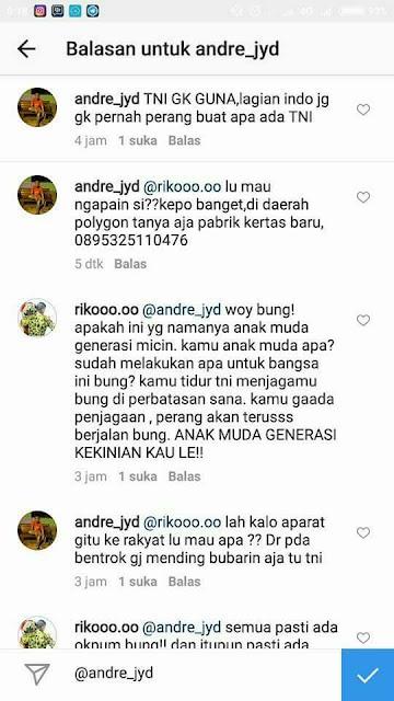 Komentar Andre yang dianggap Menghina TNI