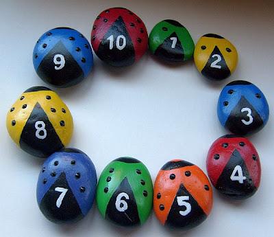 painted rocks, ladybugs, colors, numbers