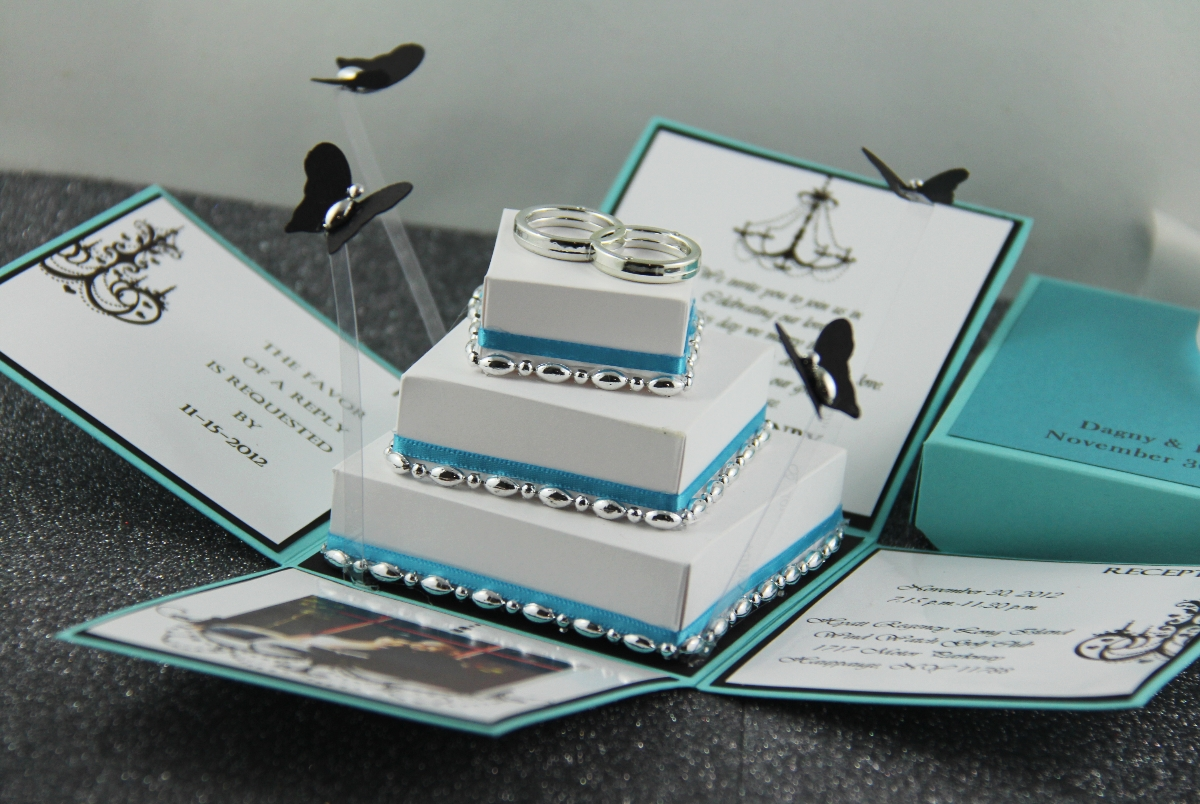 Wedding Invitation In A Box: Jinky's Crafts & Designs: Tiffany Inspired Invitation Box