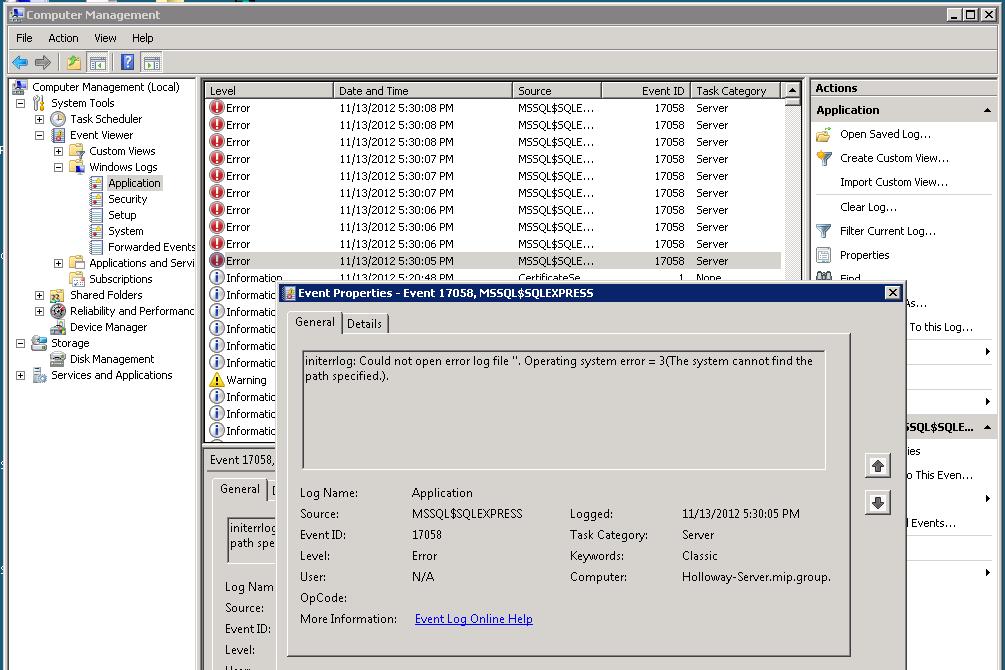 MSSQL Startup Error code 17058