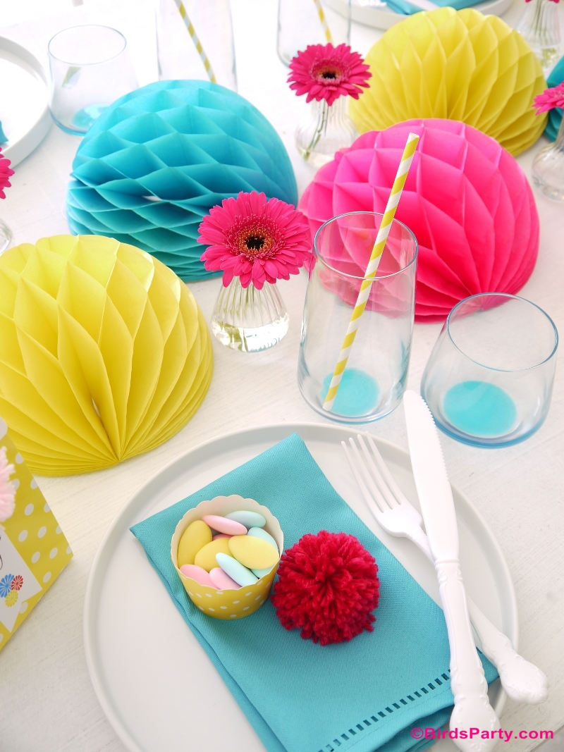 Mother's Day Color Pop Tablescape Place Setting Mother's Day Color Pop Party Favors and DIY Gifts - BirdsParty.com