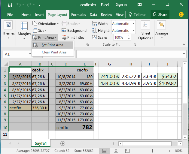 How To Only Print An Area İn Microsoft Excel-www.ceofix.net