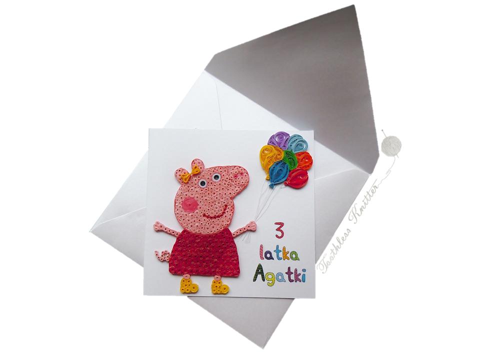 Quilled Peppa Pig Birthday Card / Quillingowa Kartka Urodzinowa ze Świnką Peppą