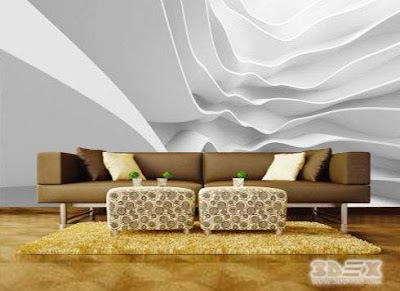 black and white 3D wallpaper designs for living room walls