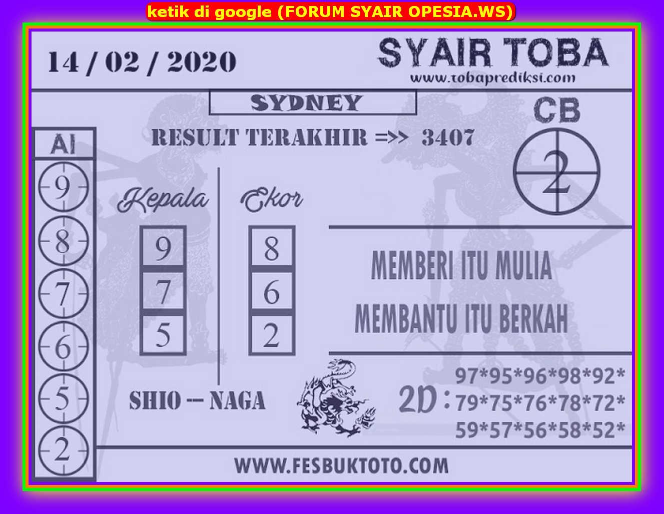 Kode syair Sydney Jumat 14 Februari 2020 112