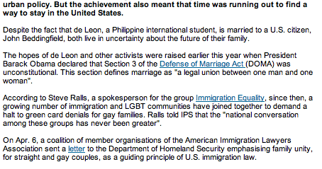 STOP THE DEPORTATIONS THE DOMA PROJECT: IPS: Activists Fight