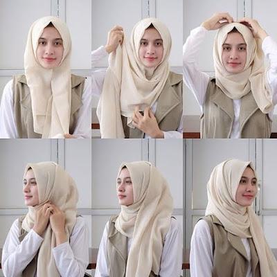Cara memakai jilbab pashmina satin anggun