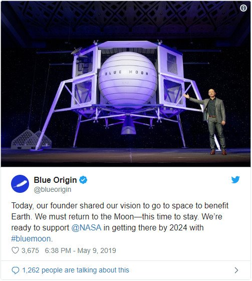 Blue Origin said on twitter