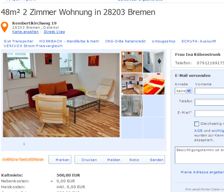 48m 2 zimmer wohnung in 28203 bremen rembertikirchweg 19 28203. Black Bedroom Furniture Sets. Home Design Ideas