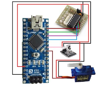 Arduino + Servo Motor + Stepper Motor + IR Receiver wiring