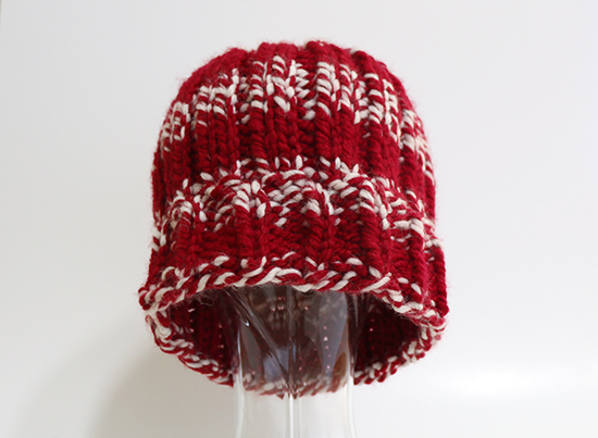 Crimson and White Knit Hat