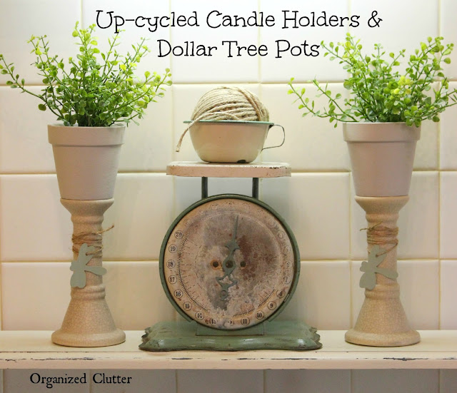 Garage Sale Candle Holders, Dollar Tree Pots & DecoArt Chalky Finish Paint www.organizedclutter.net