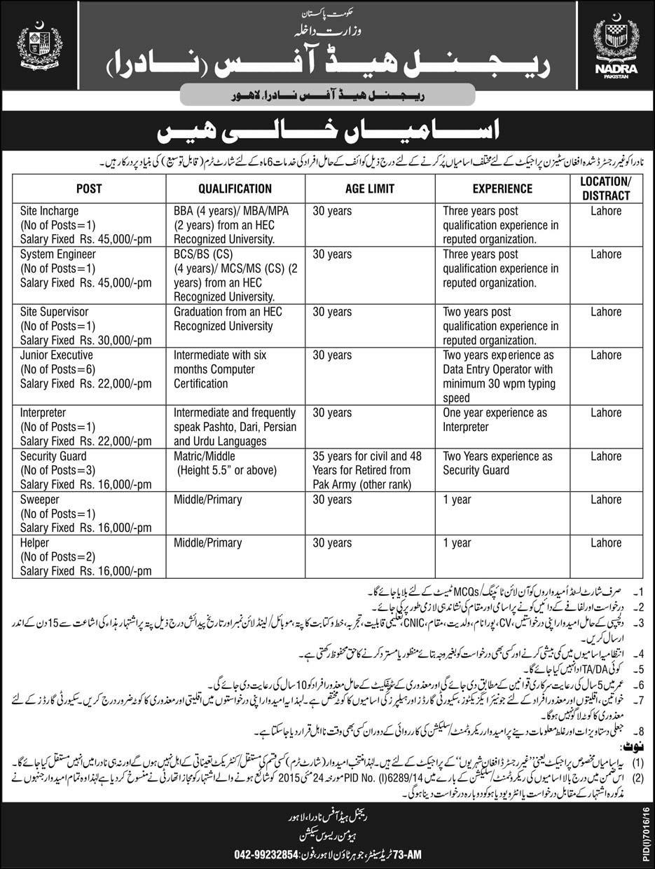 Jobs in Nadra Regional Head Office Lahore &  National Database and Registration Authority  23 June 2017.