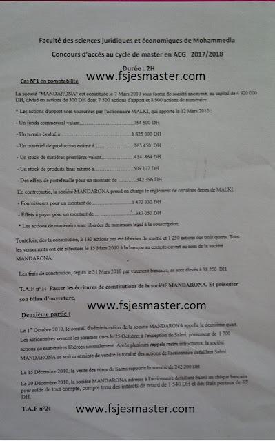 Exemple Concours Master Audit et Contrôle de Gestion 2017-2018 - Fsjes Mohammedia