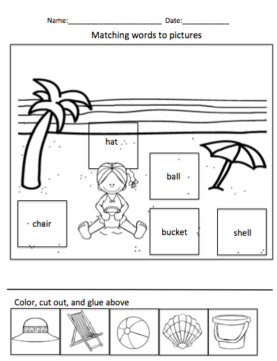 Pages of Following Directions, Sorting, Cut/Paste Activities