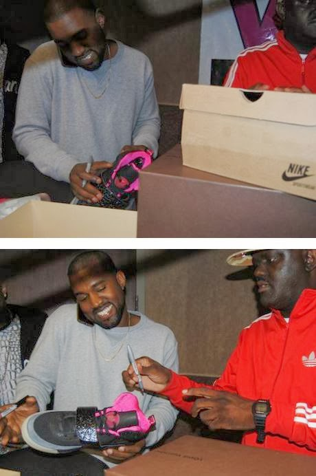 84658f6925df ... Kanye West Autographing DJ Greg Street s Air Yeezy Collection   Bape  Sneakers