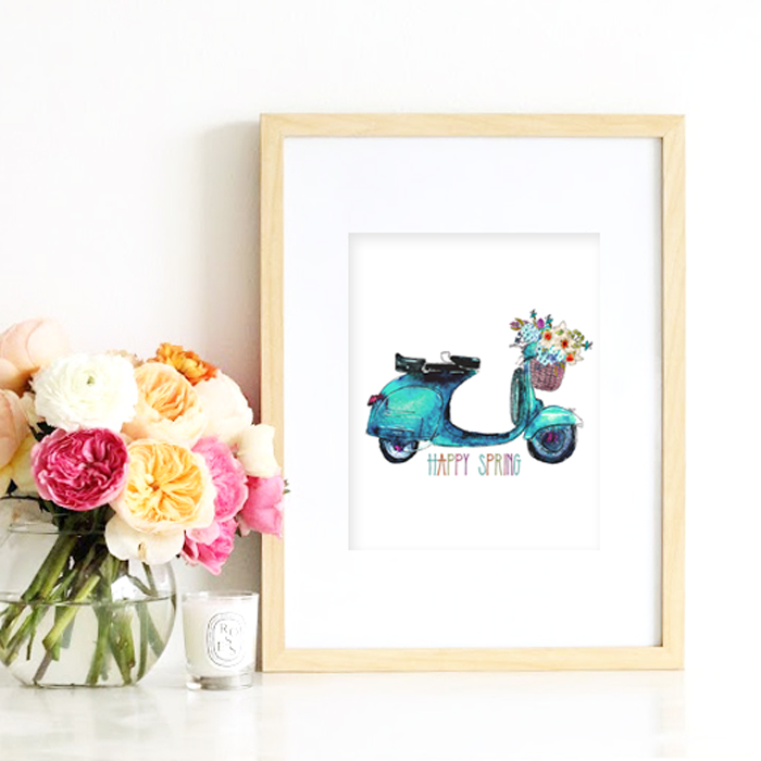 Free Spring Watercolor Printable: Pretty aqua moped with loads of beautiful spring blooms. Available in both vertical and horizontal. Instant downloads.