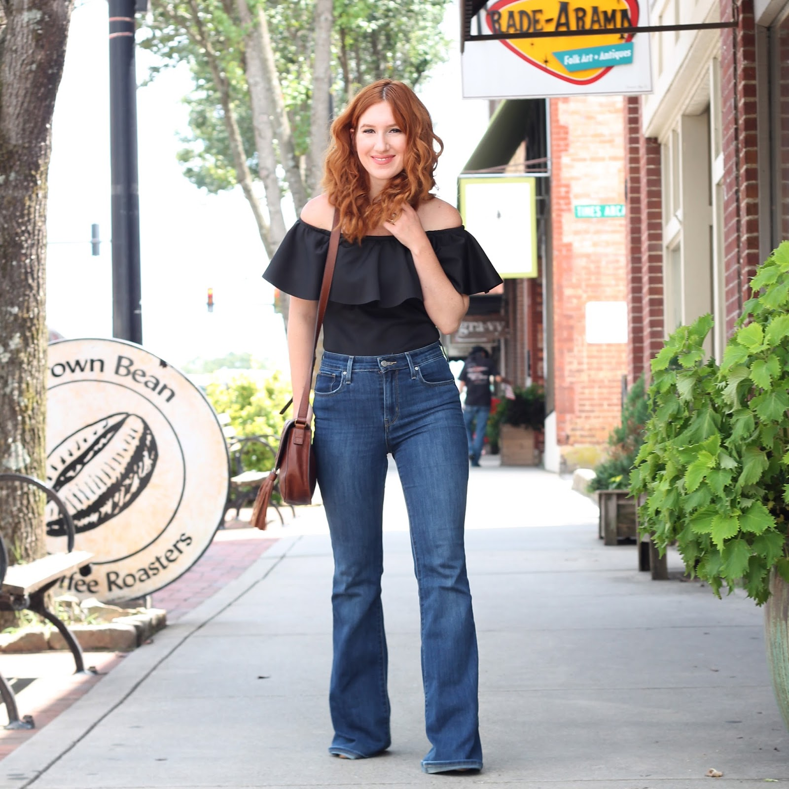 how to wear a bodysuit, how to wear flare jeans, high waisted, denim, summer style, spring style, off the shoulders, bodysuit