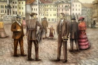 Artystyczne malowanie scdian, malowanie murali, malowidło ścienne przedstawiające Plac Zygmunta z 1930r, przedwojenna warszawa, mural