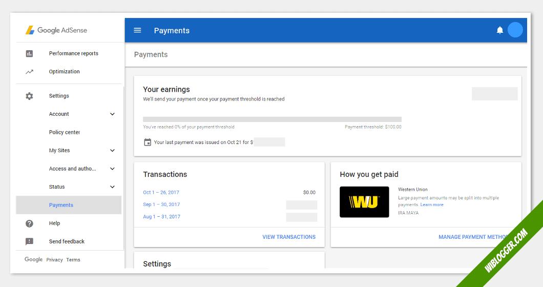 fungsi menu-menu adsense - pembayaran