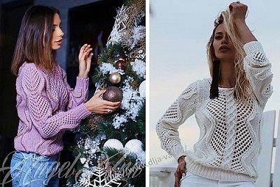 Пуловер связанный спицами.