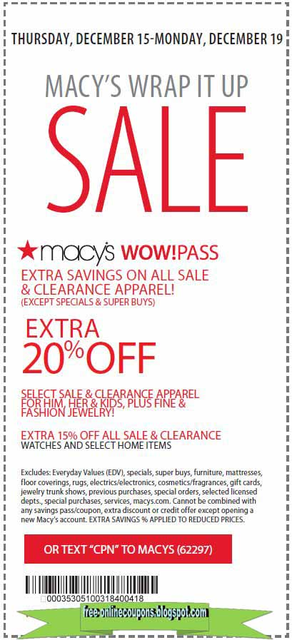 You can reach Macy's customers service by phone at: () or by Email. Shoppers can typically save between 15% - 20% off throughout the store with some brand exceptions. A few times each year they offer a Friends & Family coupon which can be used on just about everything they sell.