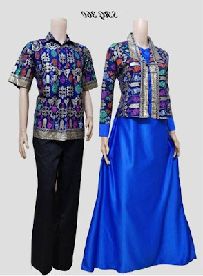 Model baju batik muslim couple pasangan