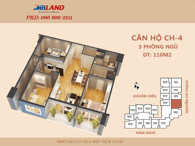 Mặt bằng căn hộ 91m2 chung cư Golden Field Mỹ Đình.
