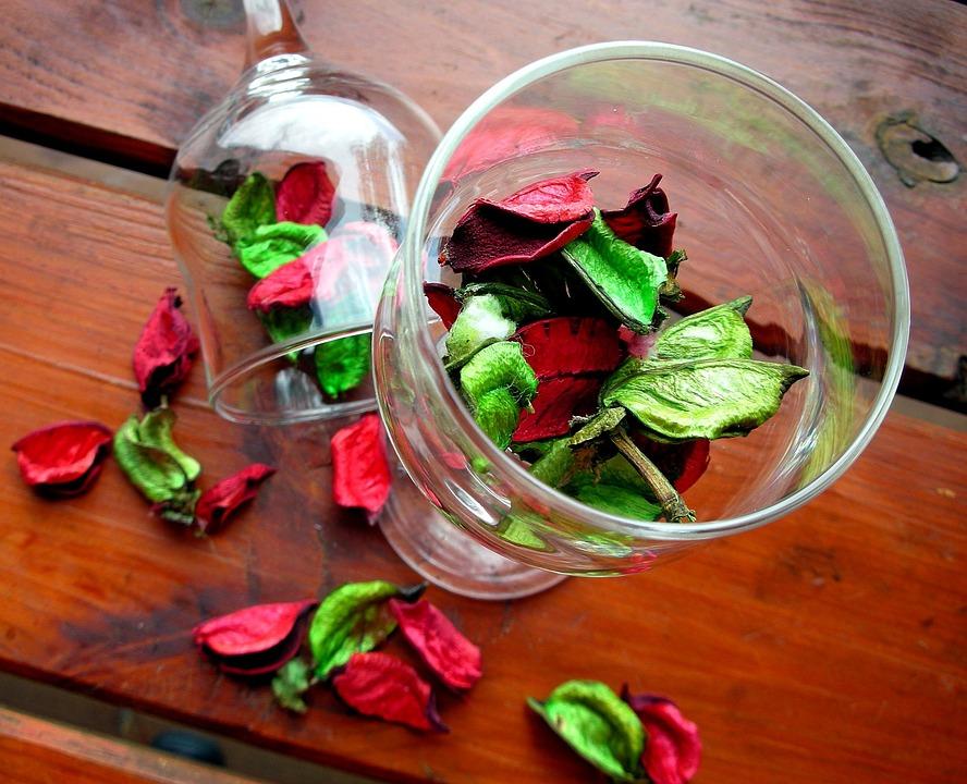 wine glass with dried flowers