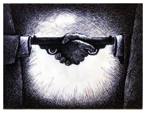 Ilustração de um aperto de mãos estilizado, em que se apontam armas um para o outro