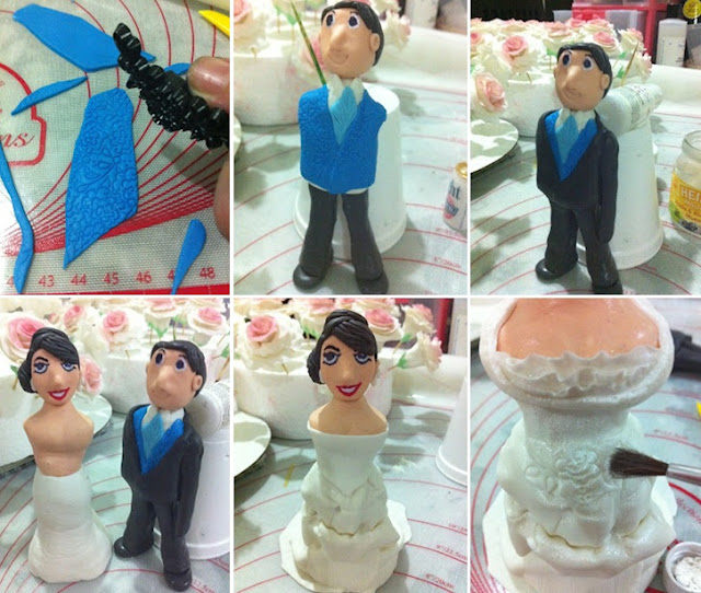 the bride figurine is draped in fondant gown