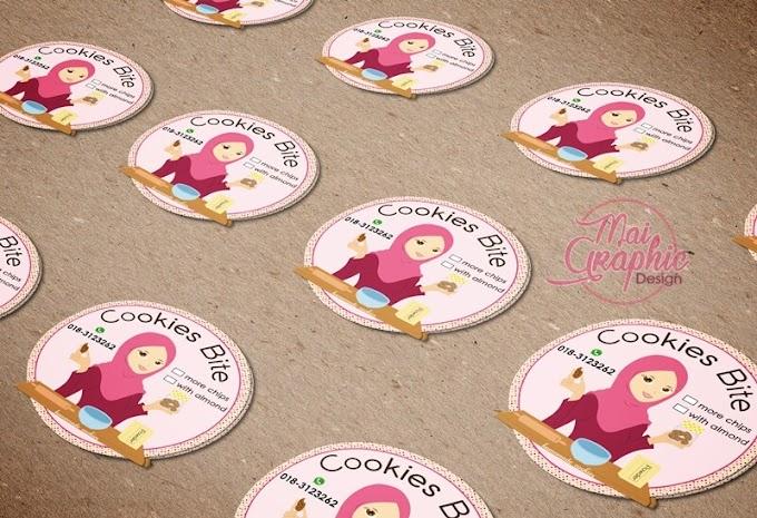 Design dan Cetak Stiker Cookies Bite