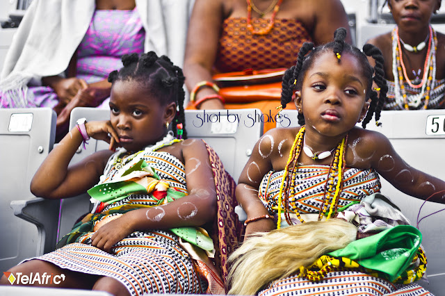 kids wearing kente in Ghana