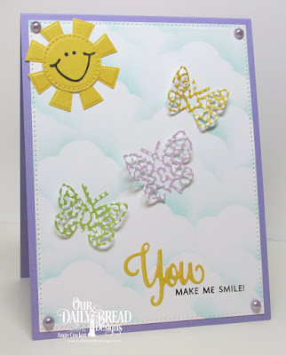 ODBD You Bless Me So, ODBD Custom Bitty Butterflies Dies, ODBD Custom Pierced Circles Dies, ODBD Custom Matting Cirlces Dies, ODBD Custom Pierced Rectangles Dies, ODBD Birthday Brights Paper Collection, ODBD Pastel Paper Pack, ODBD Custom Clouds and Raindrops Dies, Card Designer Angie Crockett