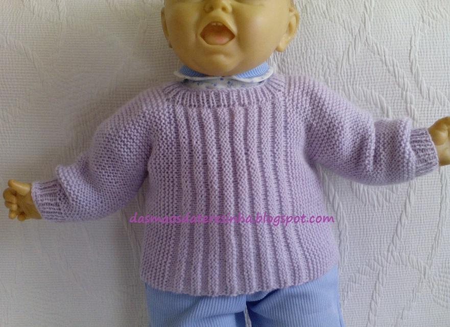 6cee4c5354e04 Das Mãos da Teresinha  Casaco de tricô para bebé recém-nascido