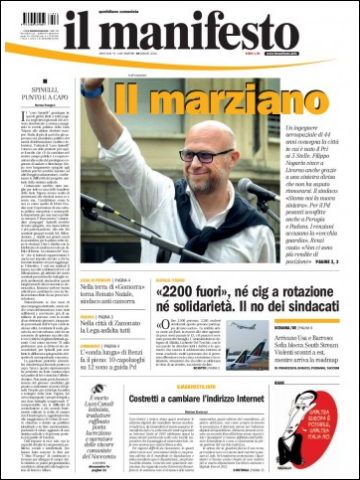 Front page, Il manifesto, 10 June 2014, Filippo Nogarin mayor of Livorno