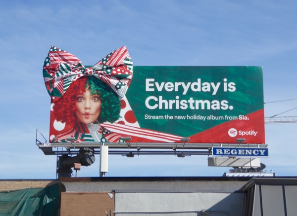 Sia 3D Christmas bow Spotify billboard