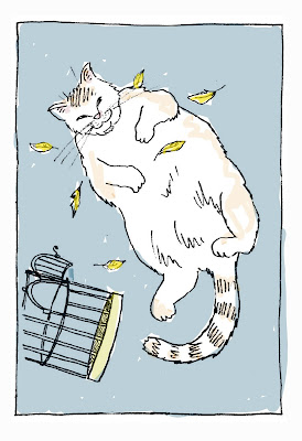 Coloring card of the fat cat behaving badly. The cat has eaten  the canary by artist David Borden