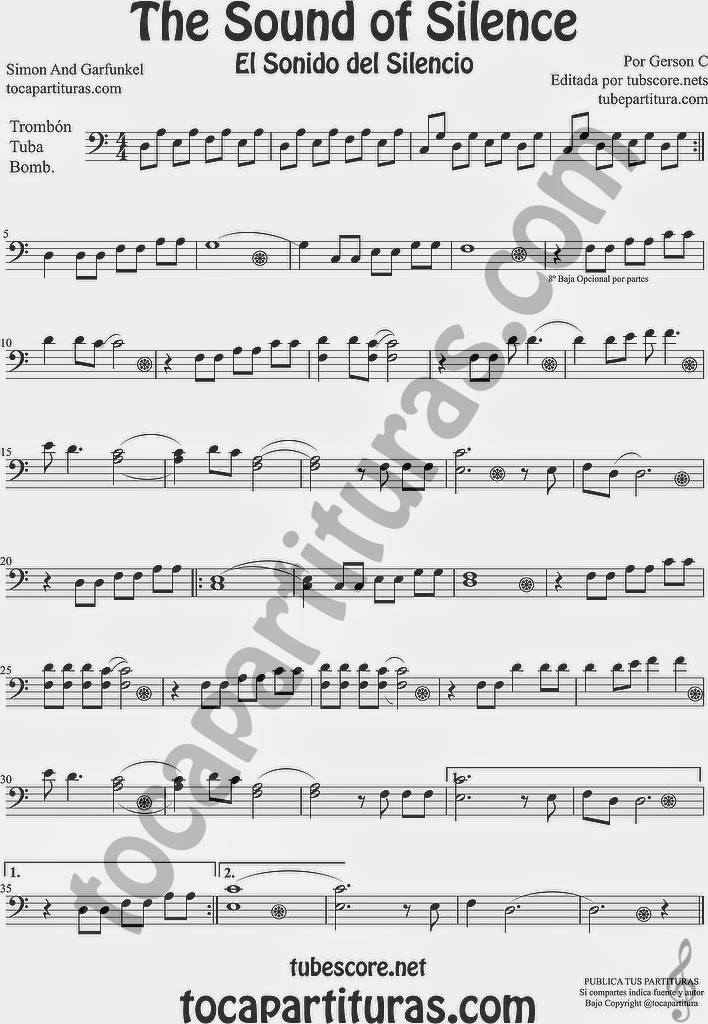The Sound of Silence Partitura de Trombón, Tuba Elicón y Bombardino Sheet Music for Trombone, Tube, Euphonium Music Scores El Sonido del Silencio