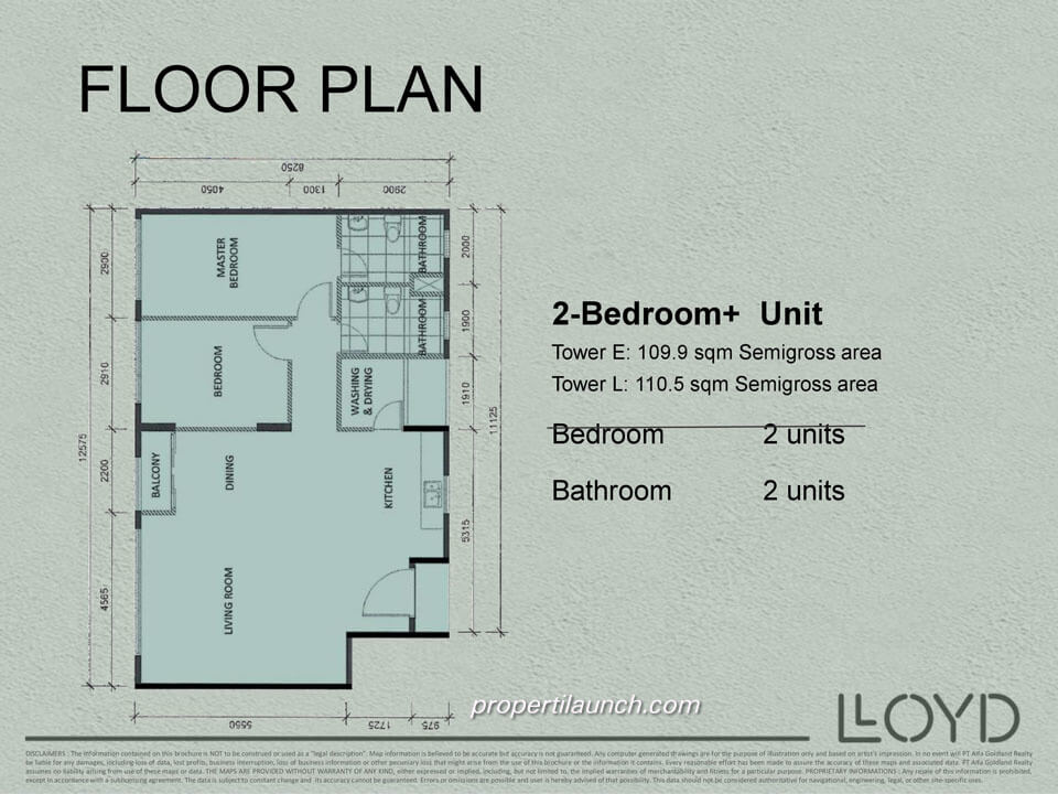 Tipe 2 BR+ Apartemen Lloyd