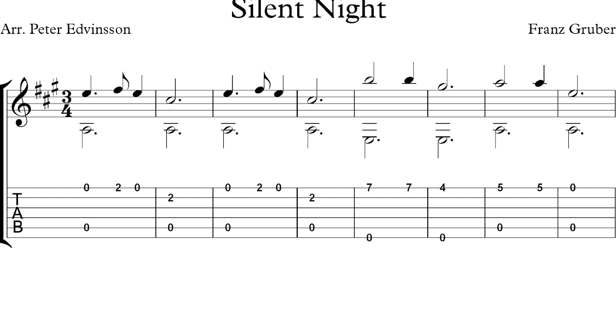 free christmas guitar solo sheet music silent night. Black Bedroom Furniture Sets. Home Design Ideas
